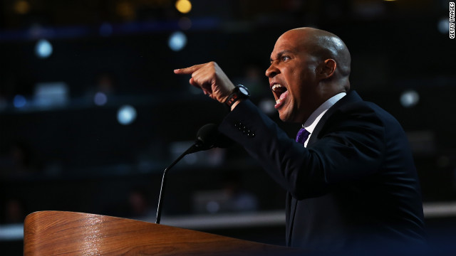 Newark Mayor Cory Booker points to the crowd during his speech on Tuesday.