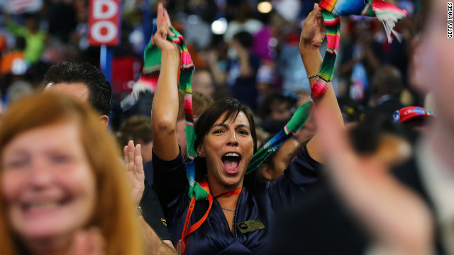 A woman cheers during Tuesday's program.