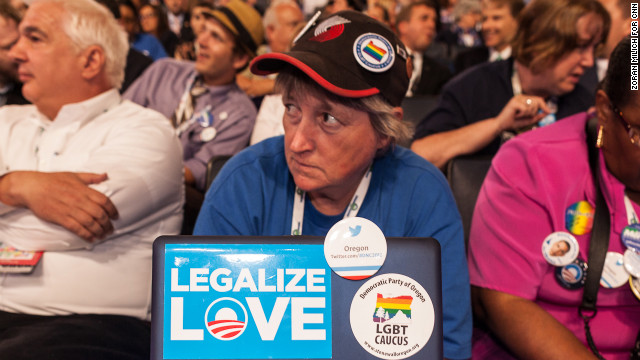K.C. Hanson of Oregon watches the DNC on Wednesday in Charlotte, North Carolina.