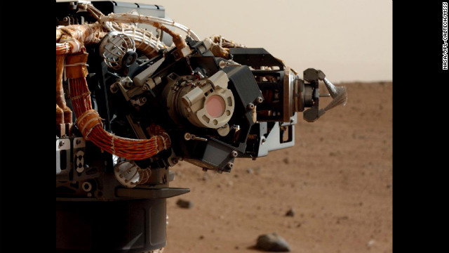 The left eye of the Mast Camera on NASA's Mars rover Curiosity took this image of the rover's arm on Wednesday, September 5. Curiosity arrived on Mars early on August 6 and began beaming back images from the surface. See all the images here as they are released. <a href='http://www.cnn.com/2012/07/17/tech/gallery/mars/index.html'>Check out images from previous Mars missions.</a>