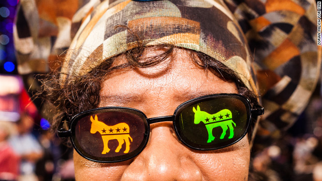 Julia Hicks of Colorado arrives early with some retro glasses at the Democratic convention on Thursday.