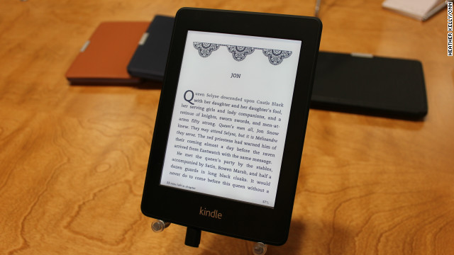 The new Kindle Paperwhite e-reader has a lighted screen for reading in the dark.