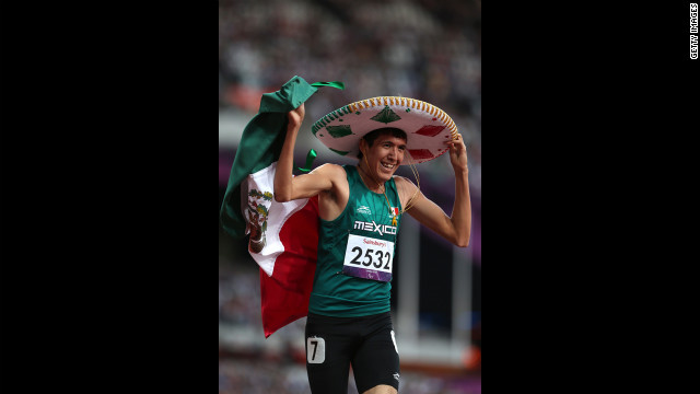 Jorge Benjamin Gonzalez Sauceda of Mexico celebrates winning bronze in the men's 400m - T12 final on Thursday, September 6. 
