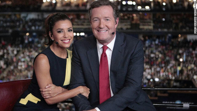 In a picture tweeted out by CNN's Piers Morgan (@PiersMorgan), Eva Longoria, co-chair of Obama's re-election campaign, sat down with Morgan.