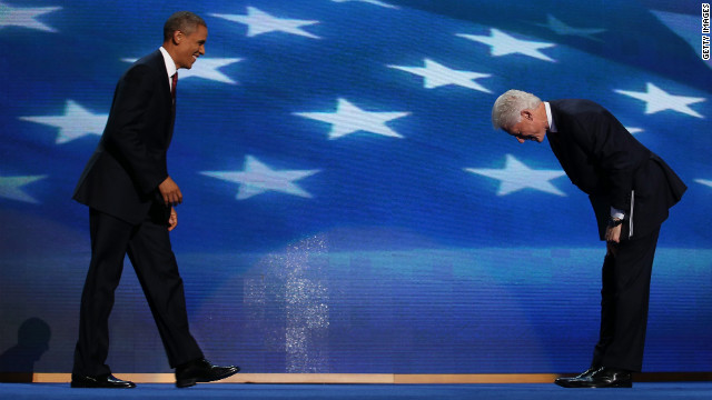 Former President Bill Clinton greets President Barack Obama onstage during the Democratic National Convention on Wednesday, September 5, in Charlotte, North Carolina. 