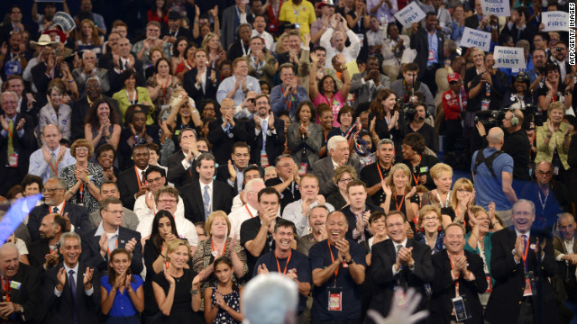 Supporters applaud former President Bill Clinton's speech Wednesday.