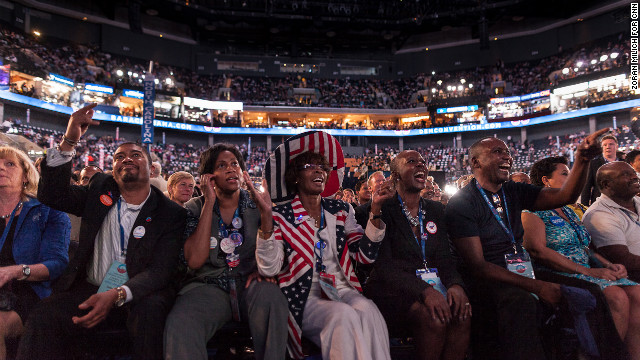 Antedees applaud during the convention Thursday night.