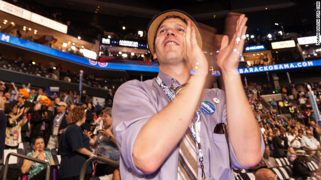 Steve Coatsworth from Oregon stands and applauds during the speeches on Wednesday. 