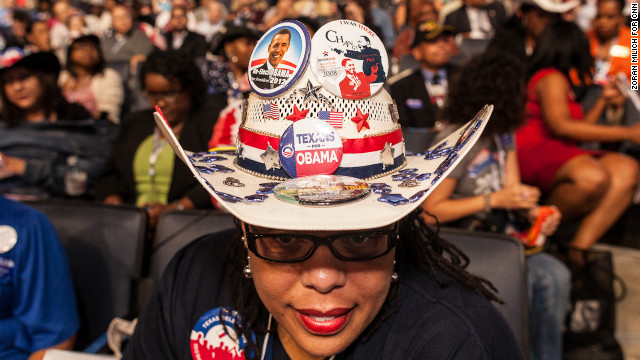 A woman wears a cowboy hat Wednesday showing Texan support for President Barack Obama.