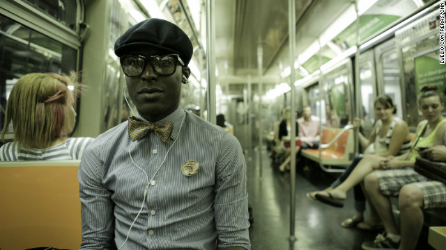 Cedric Gray, of Brooklyn, New York, rides the subway during Fashion's Night Out on Thursday, September 6, in New York.