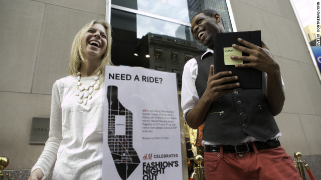 Ashley Cohen, 23, shares a laugh outside H&M.