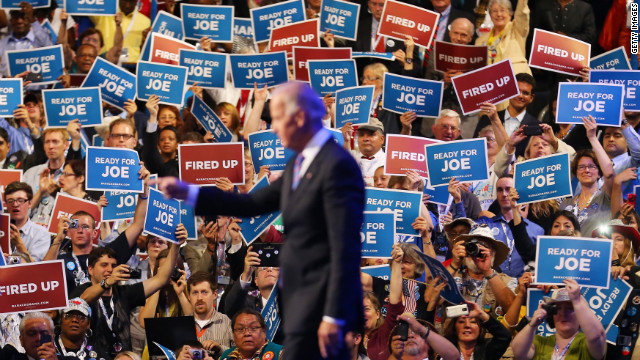 Biden walks onstage during the final day of the convention on Thursday.