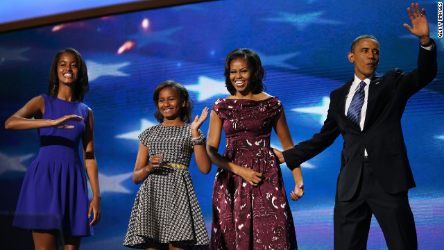 The Obama family takes to the stage as the gathering draws to a close on Thursday, September 6, the final day of the Democratic National Convention in Charlotte, North Carolina.