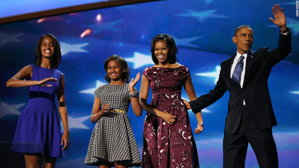 The Obama family takes to the stage as the gathering draws to a close on Thursday, September 6, the final day of the Democratic National Convention in Charlotte, North Carolina. <a href='http://www.cnn.com/2012/08/27/politics/gallery/best-of-rnc/index.html' target='_blank'>See the best photos from the Republican National Convention. </a>