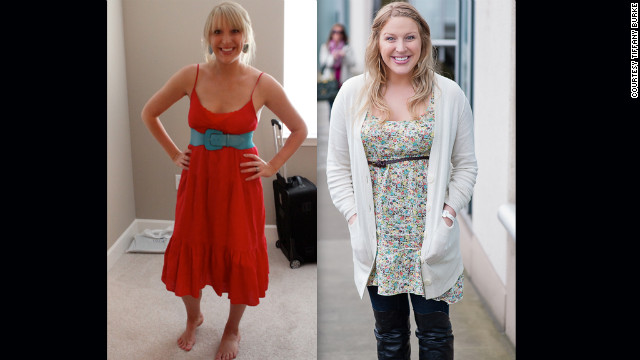 "Burke shows off her dramatic weight change due to the fertility hormones. ""This photo on the left is my body before medications at 150 lbs, and then second photo was taken the day of the second transfer, just a few weeks ago at around 180 lbs (give or take an embryo),"" she <a href='http://abellyformeababyforyou.blogspot.com/2012/04/from-fit-to-fat.html' target='_blank'>wrote on the blog</a>."