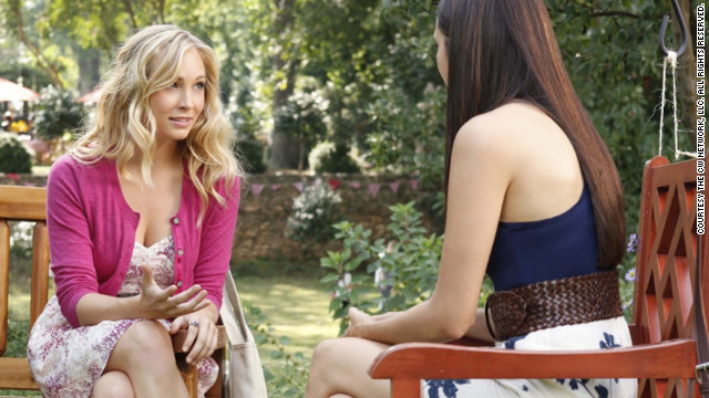Accola's character, Caroline, left, was recently turned into a vampire, but she's still &quot;a cheerleader and head of every event-planning committee at school,&quot; Leverett said. &quot;Even though she might be a blood-sucking supernatural creature, she's still a teenager at heart who wants to look cute while she's battling hybrids or the occasional vampire-hating history teacher.&quot;
