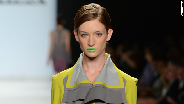 "Elena Slivnyak, a contestant on ""Project Runway,"" showcased an edgy, modern collection, complete with green and yellow lipsticks."