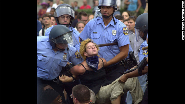 &lt;strong&gt;2000:&lt;/strong&gt; Officers carry a protester to a van during the 2000 Republican National Convention in Philadelphia. Demonstrators committed various acts of civil disobedience, bringing traffic in Center City Philadelphia to a crawl.