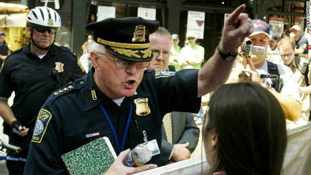 &lt;strong&gt;2004:&lt;/strong&gt; The Democratic National Convention held in Boston in 2004 included unprecedented security. Police direct demonstrators toward their permitted protest area -- away from the FleetCenter, where the convention was held.&lt;br/&gt;&lt;br/&gt;