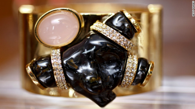 Jewelry and handbag designer Kara Ross displays her spring pieces, including this cuff.