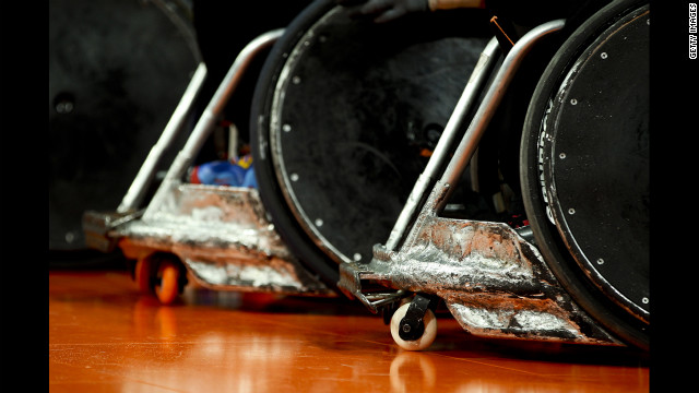 A detailed view of wheelchairs during the men's pool phase Group A rugby match between Great Britain and Japan on Friday.
