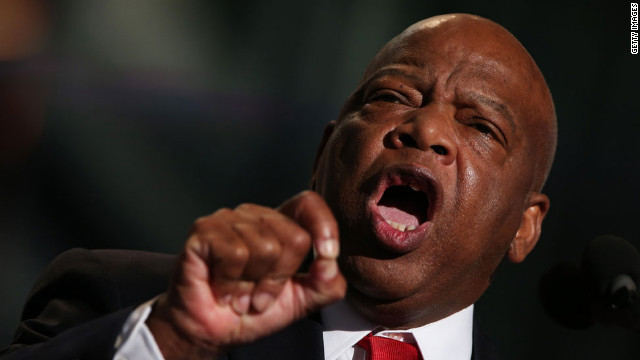 U.S. Rep. John Lewis of Georgia speaks to delegates on Thursday.