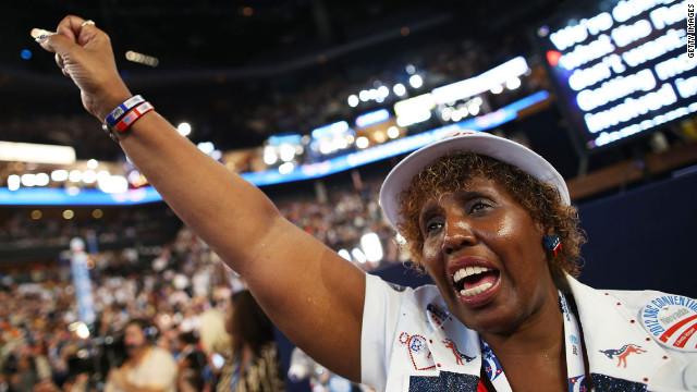 Loretta Harper of Nevada cheers on Thursday.