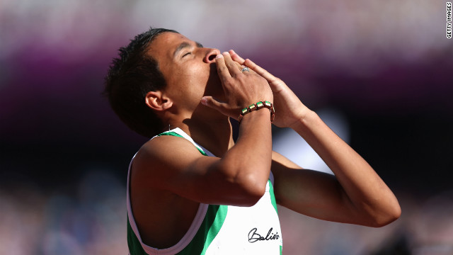 Abdellatif Baka of Algeria reacts after winning the gold during the men's 800-meter T13 final on Saturday.