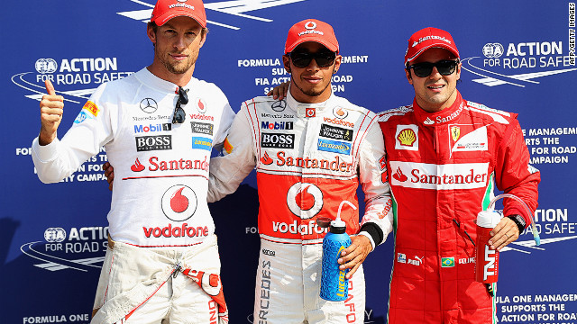McLaren's Lewis Hamilton (center) will start Sunday's Italian Grand Prix on pole position