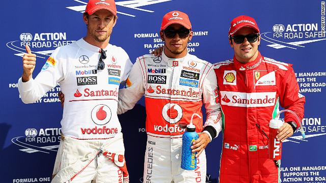 McLaren's Lewis Hamilton (center) will start Sunday's Italian Grand Prix on pole position