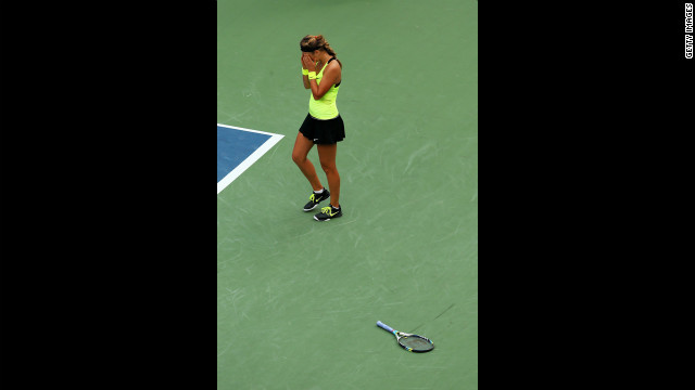 Victoria Azarenka of Belarus celebrates match point against Sharapova on Friday.