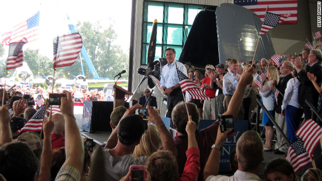 Romney tells military-friendly crowd: 'We'll rebuild military might,' keep God on U.S. currency