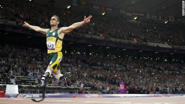 South Africa's Oscar Pistorius, also known as the &quot;Blade Runner,&quot; crosses the line to win gold in the men's 400-meter T44 final. Pistorius also competed in the London Olympics.