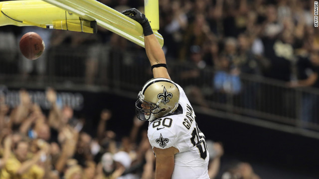 No. 80 Jimmy Graham of the Saints celebrates a touchdown against the Redskins on Sunday.