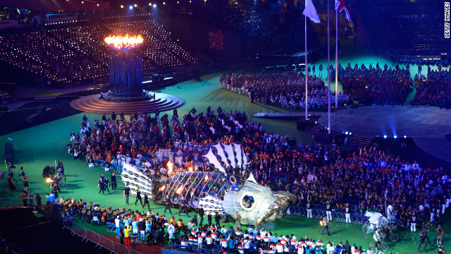 A mechanical fish circles the arena.