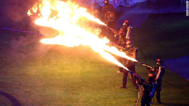 Flame throwers light up the night.
