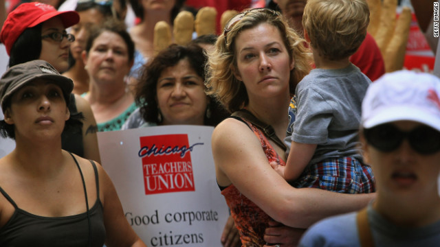 In June, Chicago school teachers protested a decision by the board of education to rescind a 4% annual raise.