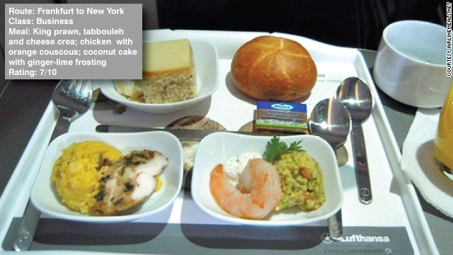 George Stoner reviewed his in-flight food between Frankfurt and New York on AirlineMeals.com saying: &quot;Again service was a bit off -- note the lack of table cloth... The food itself was fine, especially the orange couscous.&quot;