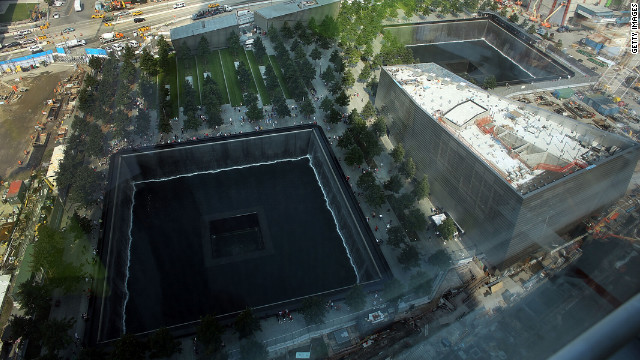 The reflecting pool at the National September 11 Memorial &amp; Museum is viewed on Friday.