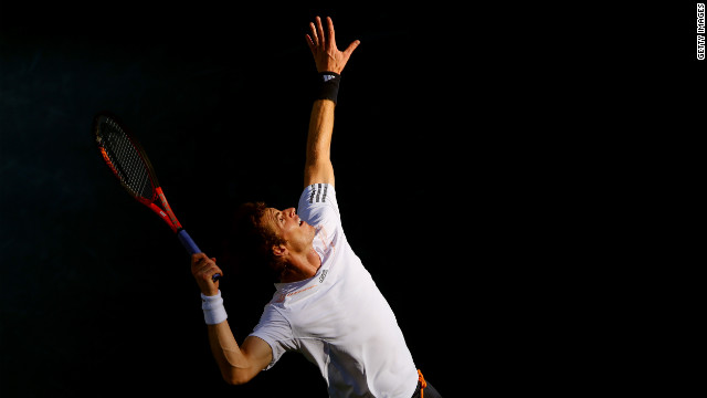 Andy Murray serves during his men's singles final match against Novak Djokovic of Serbia on Monday, September 10, day 15 of the 2012 U.S. Open.
