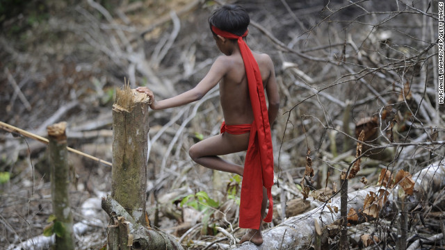 A Yanomami boy stands on a tree trunk.