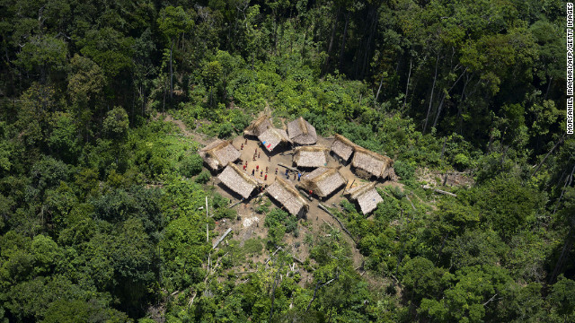 An aerial view of the remote Irotatheri community in southern Venezula where the Yanomami reside.
