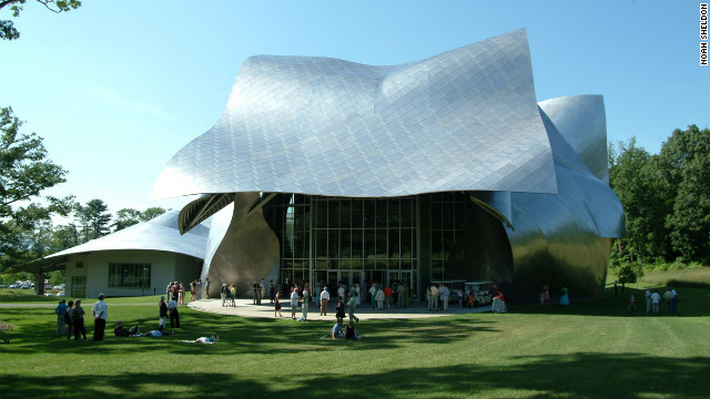 "The entry canopy to the Richard B. Fisher Center, designed by Frank Gehry, is, according to the architect, ""...not a marquee, it's more like a covered porch—a place for visitors to mingle, to enjoy a sense of community inspired by the performing arts that the building celebrates."" 60 Manor Ave.; 845-758-7900; bard.edu."