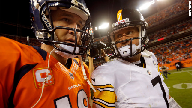 Broncos quarterback Peyton Manning and Steelers quarterback Ben Roethlisberger meet at midfield at the conclusion of the game Sunday.