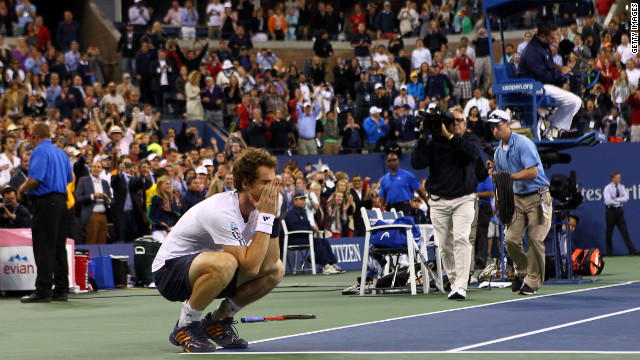 Andy Murray of Great Britain celebrates after defeating Novak Djokovic of Serbia in the men's singles final match on Monday.