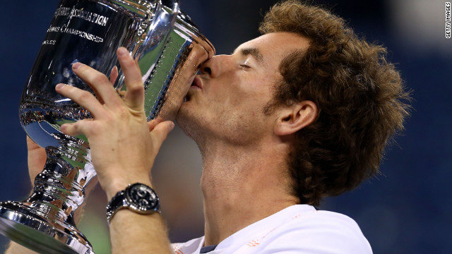 Andy Murray gets his hands on a grand slam trophy at last as he beats Novak Djokovic of Serbia to win the 2012 U.S. Open at Flushing Meadows.<br/><br/>