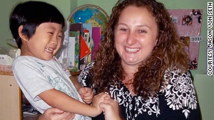 Kari Bowerman shares a laugh with one of her students in Seoul, South Korea.
