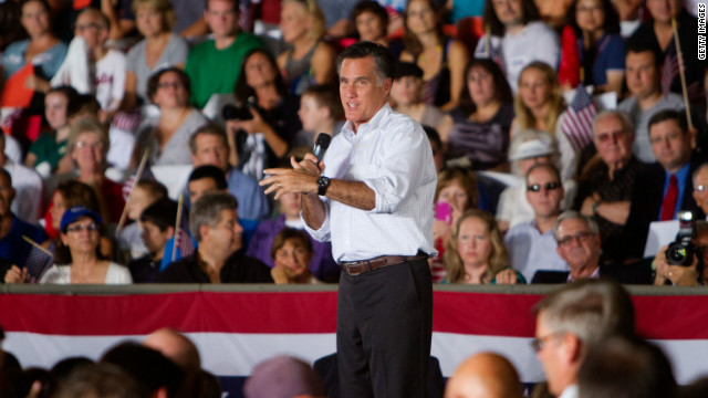Republican presidential candidate Mitt Romney speaks at a rally at Holman Stadium on September 7 in Nashua, New Hampshire.