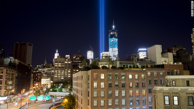 "New York's ""Tribute in Light"" for the victims of the 9/11 terrorist attacks shines into the sky over Manhattan on Monday, September 10."