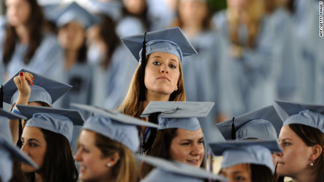Graduates wait to hear President Obama deliver the commencement address at Barnard College on May 14. 